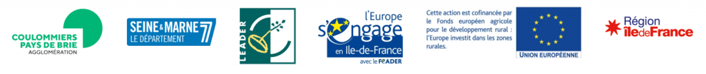 Logos des partenaires : CACPB, Seine-et-Marne, LEADER Europe, EU, Region Ile-de-France